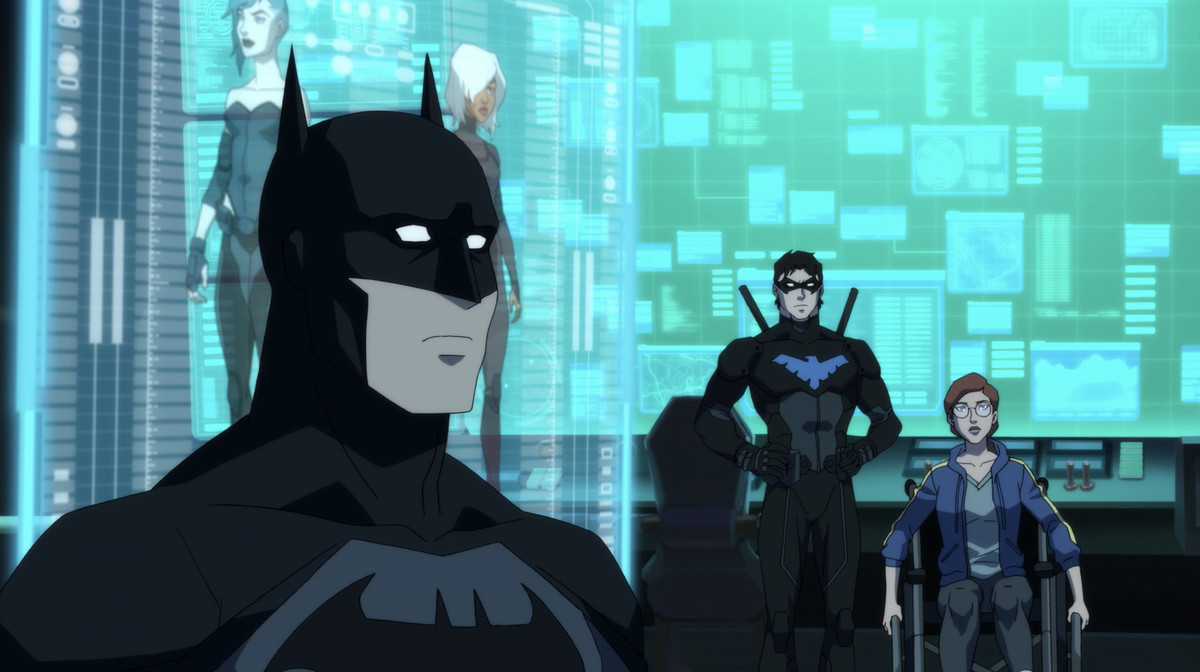 Batman conducts a secret meeting in a secret lair, with Nightwing and Oracle behind him