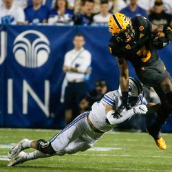 Arizona State defensive back Isaiah Johnson (3) runs past the BYU defense during an NCAA college football game at LaVell Edwards Stadium in Provo on Saturday, Sept. 18, 2021.
