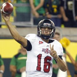 Arkansas State quarterback Ryan Aplin throws during the first half of their NCAA college football game against Oregon in Eugene, Ore., Saturday, Sept. 1, 2012.