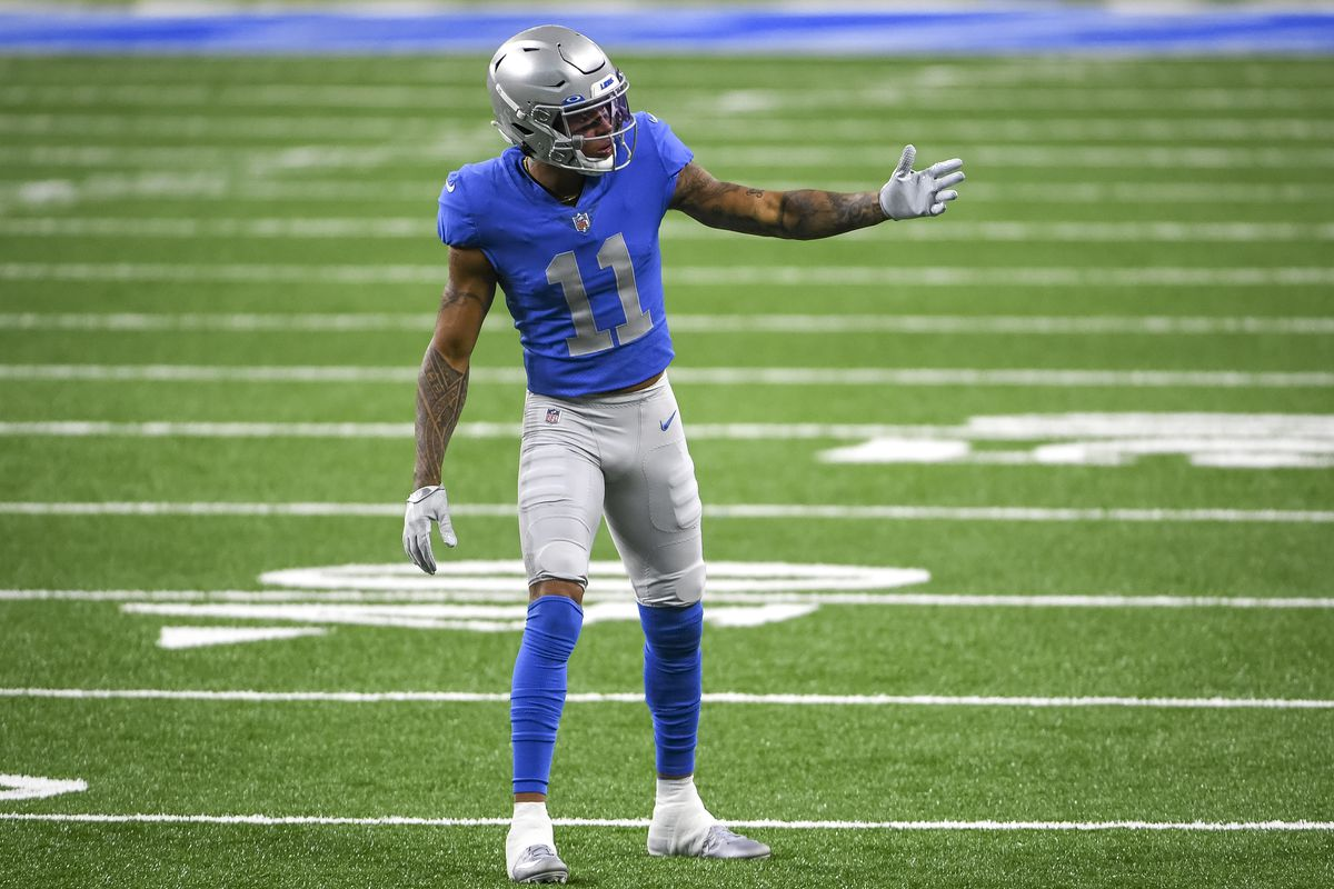 Marvin Jones #11 of the Detroit Lions lines up against the Houston Texans during the first quarter at Ford Field on November 26, 2020 in Detroit, Michigan.