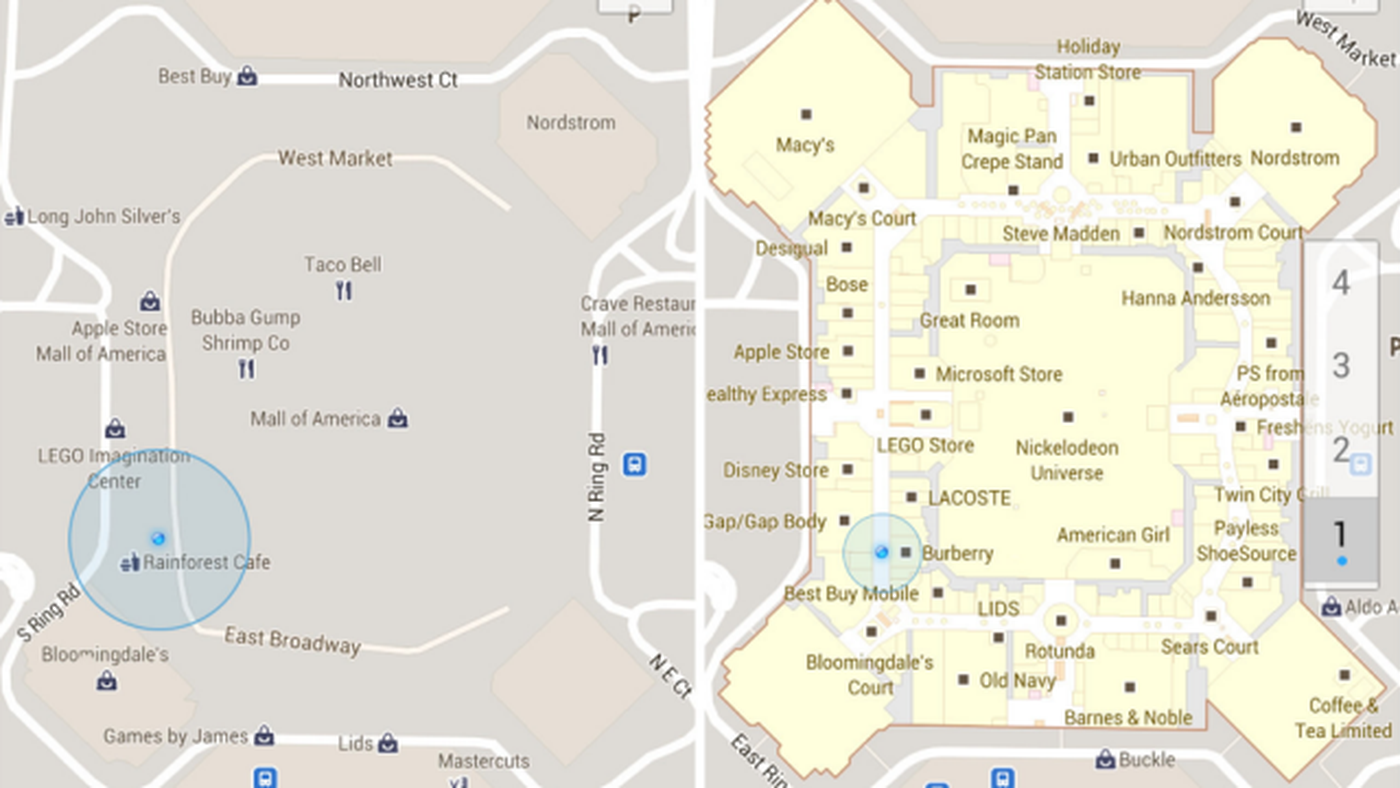 Apple Store Mall Of America Map.Google Maps 6 0 For Android Adds Indoor Maps New Places Homescreen