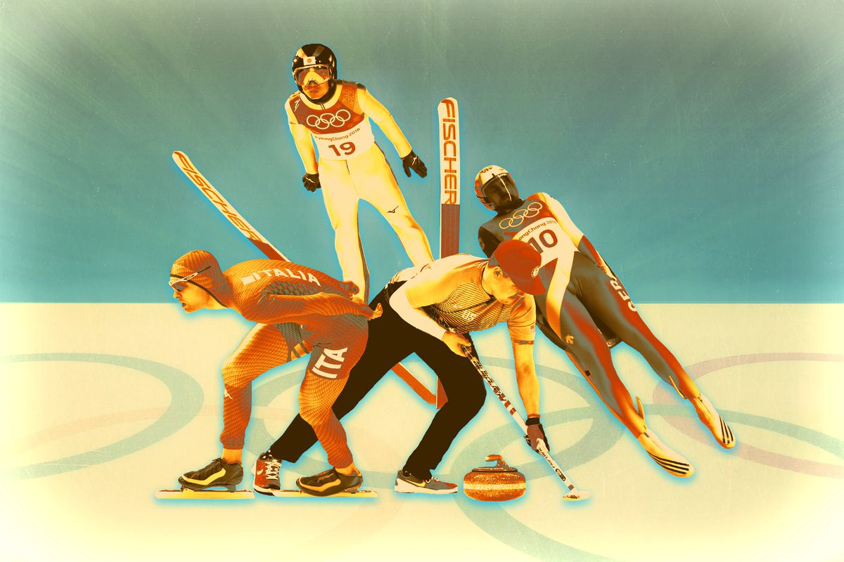 A collage of different winter Olympic athletes, including skiiers, a curler, and a speedskater