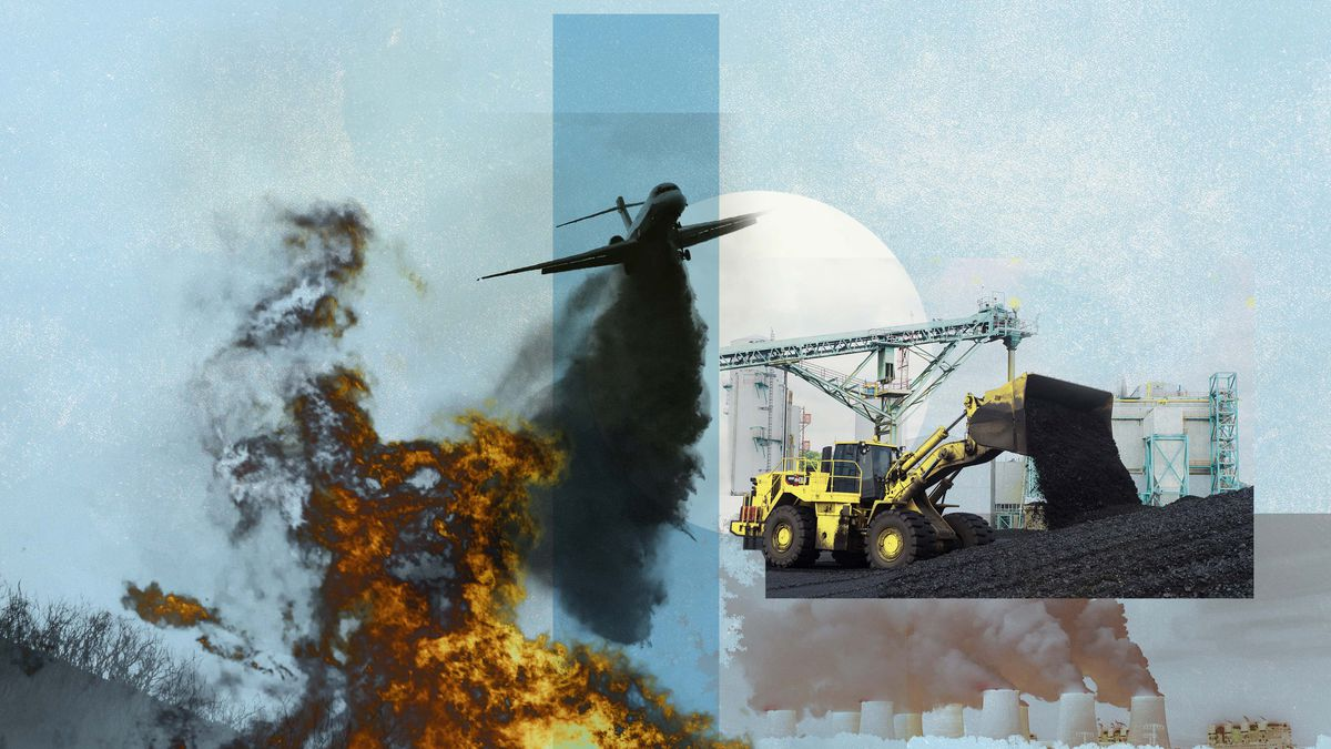 A photomontage of pollution from an airplane, an oil refinery, and a coal truck.