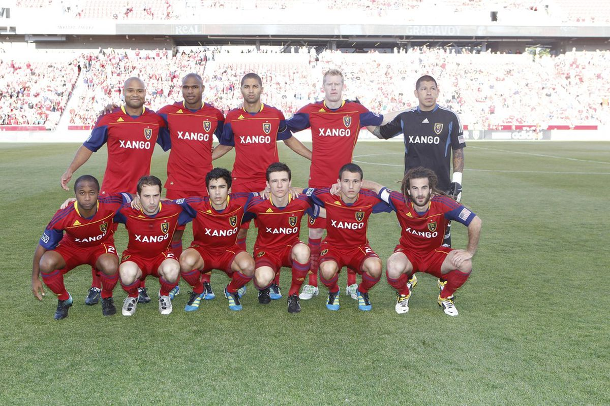 SANDY, UT - JUNE 25: Players of Real Salt Lake pose for a team picture before a game against Toronto FC during a MLS soccer game June 25, 2011 at Rio Tinto Stadium in Sandy, Utah. (Photo by George Frey/Getty Images)