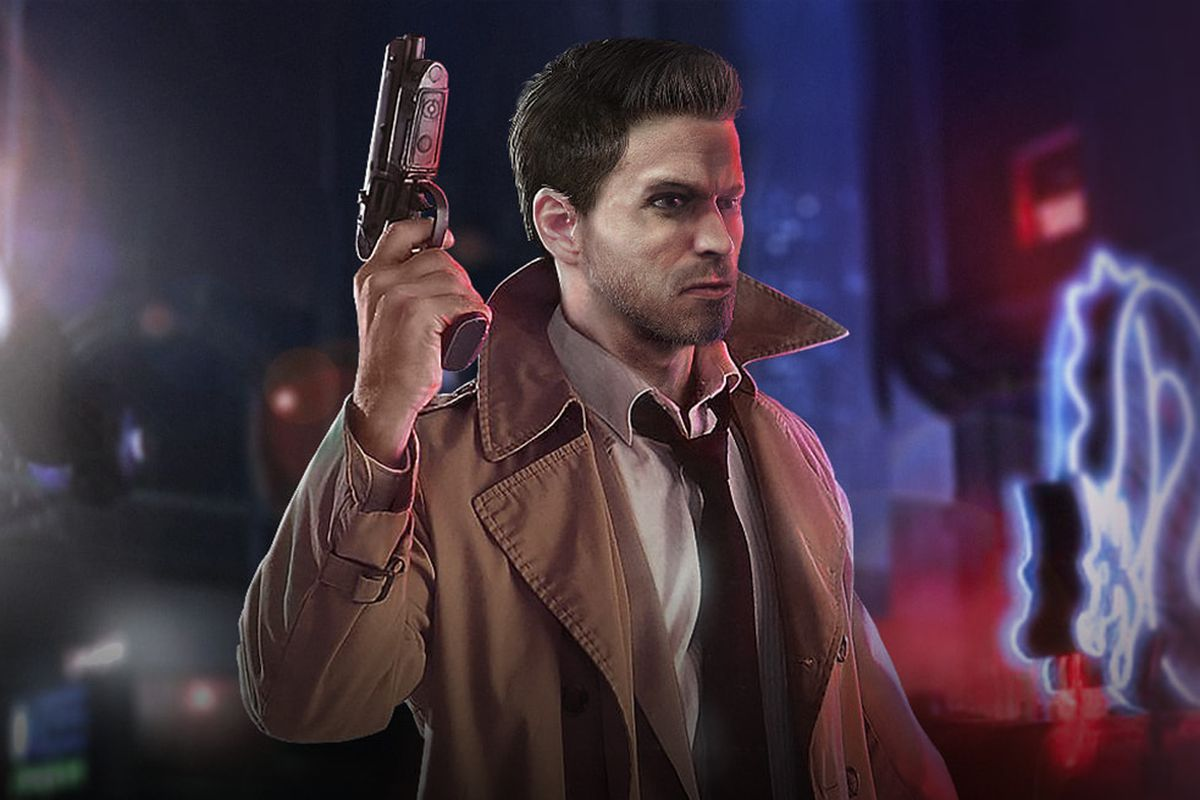artwork for Blade Runner (1997) featuring detective Roy McCoy, a brown-haired man wearing a tan trenchcoat over a white shirt and black tie while holding up a pistol