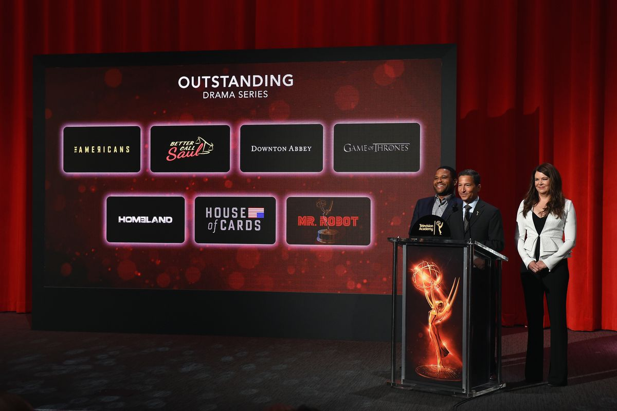 Actor Anthony Anderson, Television Academy chair & CEO Bruce Rosenblum, and actress Lauren Graham present the 68th Emmy Awards nominations announcement at the Saban Media Center on July 14, 2016, in North Hollywood, California.