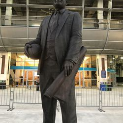 Joe Robbie Statue in the Joe Robbie Alumni Plaza and Miami Dolphins Walk of Fame at Hard Rock Stadium, Miami Gardens, Florida.
