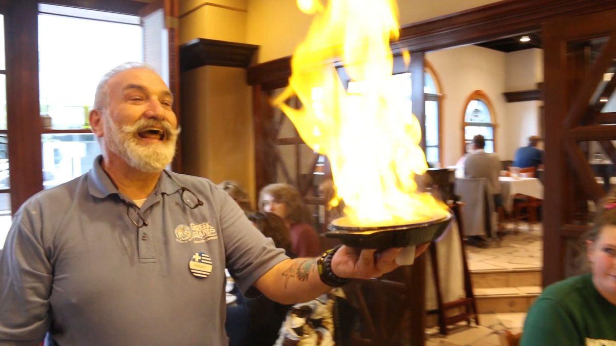 Flaming saganaki at Greek Islands Restaurant in Greektown.   Brian Rich/ Sun-Times