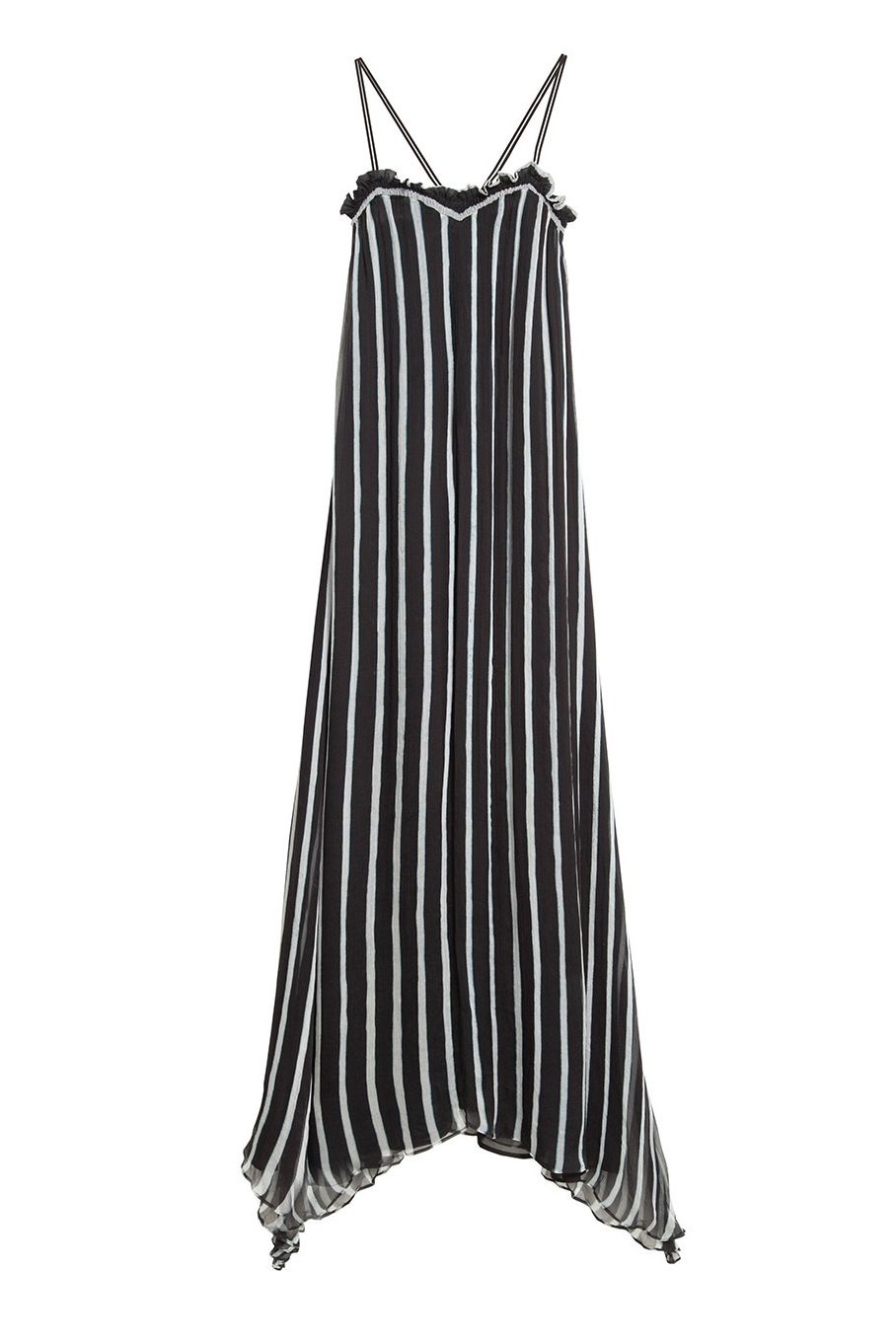 A striped chiffon gown