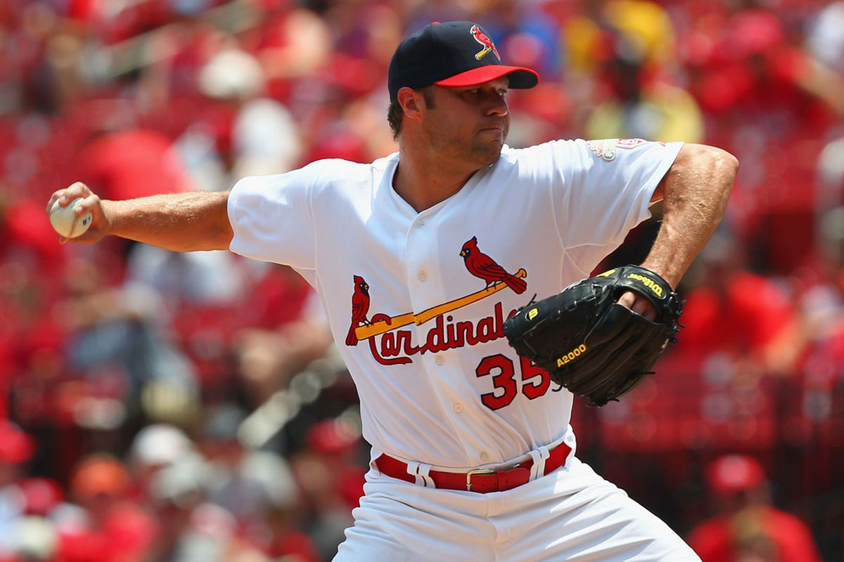 ST. LOUIS, MO - JULY 1: Starter Jake Westbrook #35 of the St. Louis Cardinals pitches against the Pittsburgh Pirates at Busch Stadium on July 1, 2012 in St. Louis, Missouri.  (Photo by Dilip Vishwanat/Getty Images)