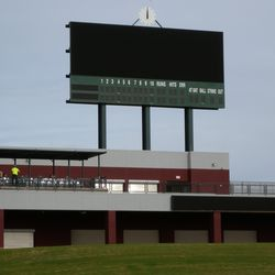 Closer view of scoreboard showing left-field party deck