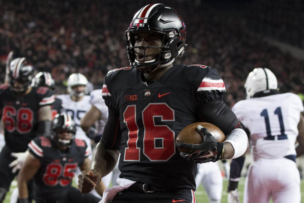 Ohio State quarterback J.T. Barrett operated in the red zone with his usual efficiency on the ground.