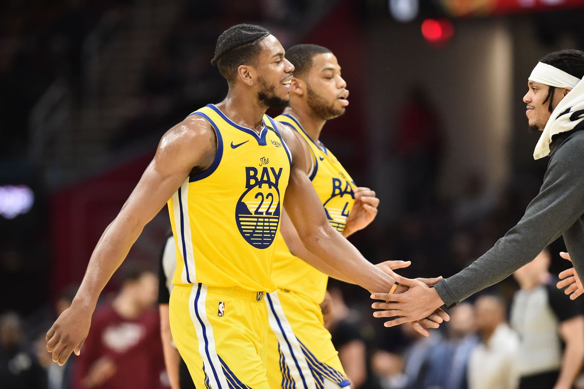 Golden State Warriors forward Glenn Robinson III celebrates after a play during the second half against the Cleveland Cavaliers at Rocket Mortgage FieldHouse.
