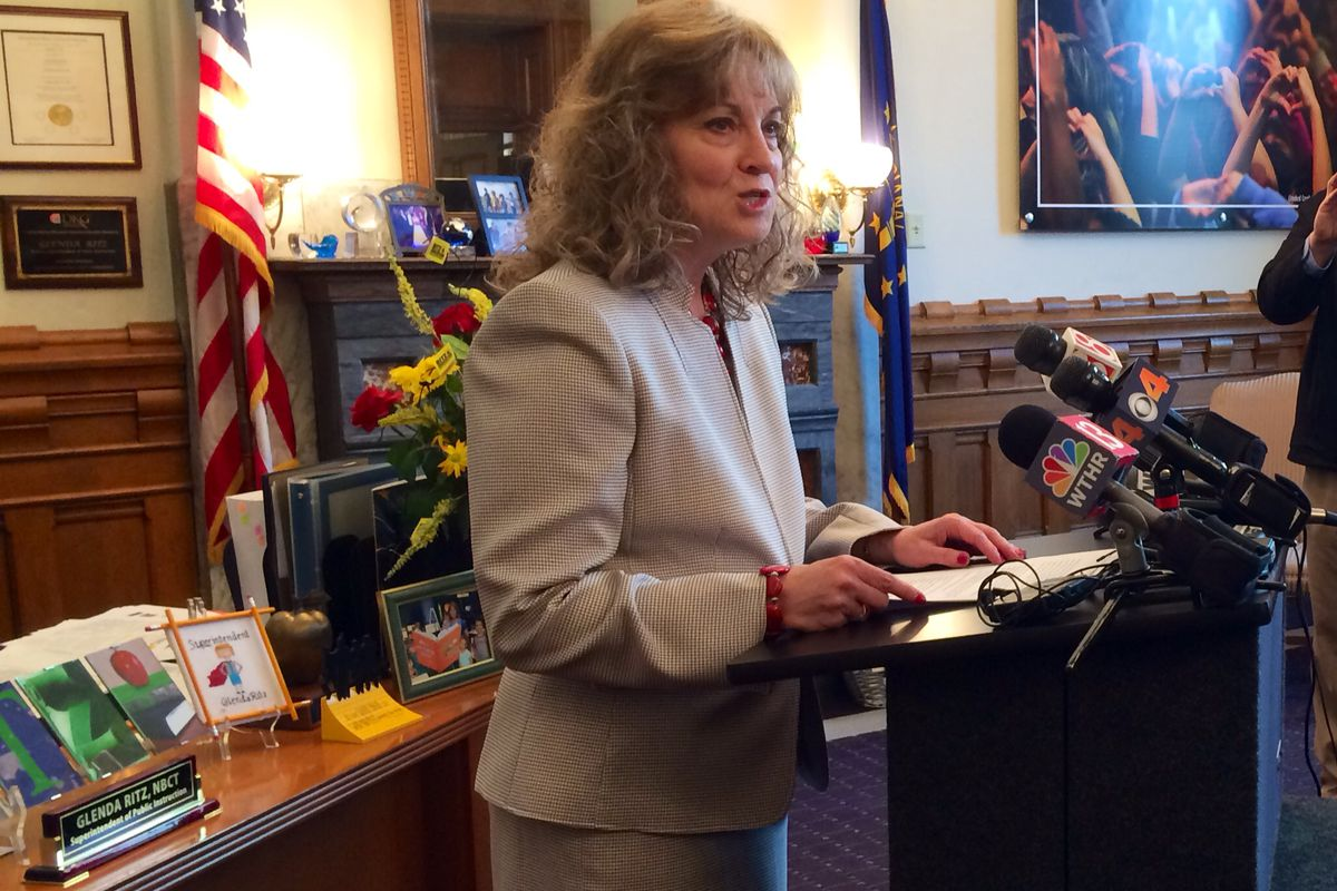 Superintendent Glenda Ritz speaks to reporters Thursday after announcing she's considering a possible gubernatorial run in 2016.