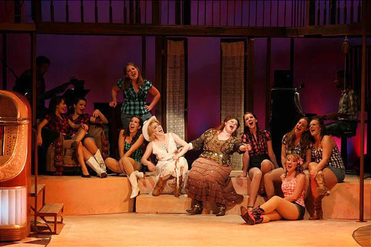 """Members of the Dark Horse Theatre Company perform  a number in """"The Best Little Whorehouse in Texas."""""""