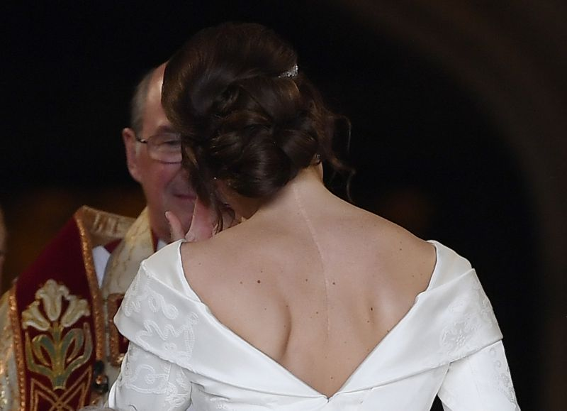 A detail shot of the back of Princess Eugenie's dress.