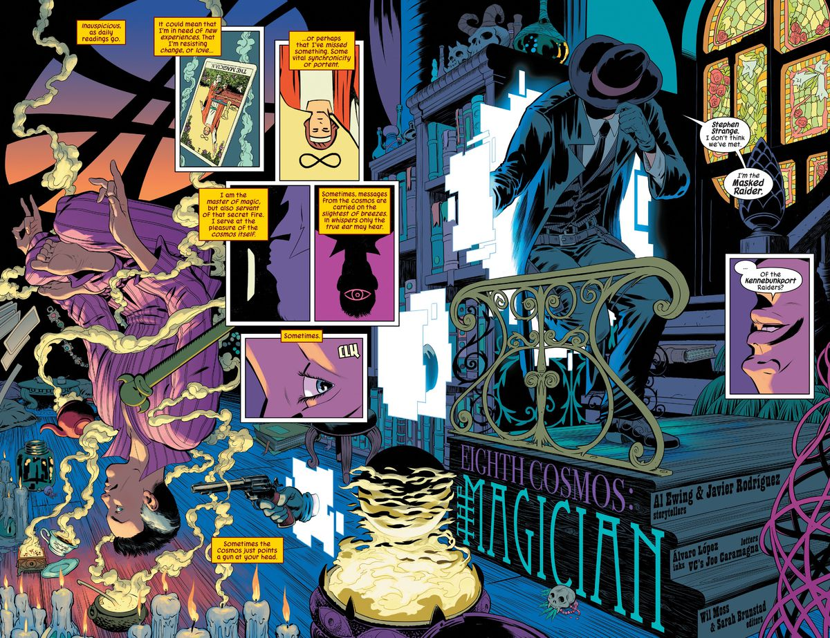 Doctor Strange opens his eyes as he meditates cross-legged (and hovering upside down) to see that a revolver is pointed at that head.  The hand that holds the revolver reaches from a pixelated portal, the portal leads through the exquisitely detailed room of the Sanctum Sanctorum to the Masked Raider in Defenders # 1 (2021).