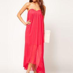 "<a href=""http://www.asos.com/ASOS/ASOS-Strapless-Maxi-Dress-in-Mesh/Prod/pgeproduct.aspx?iid=2255456&cid=8799&sh=0&pge=0&pgesize=20&sort=-1&clr=Pink""> ASOS strapless maxi dress</a>, $78.28 asos.com"