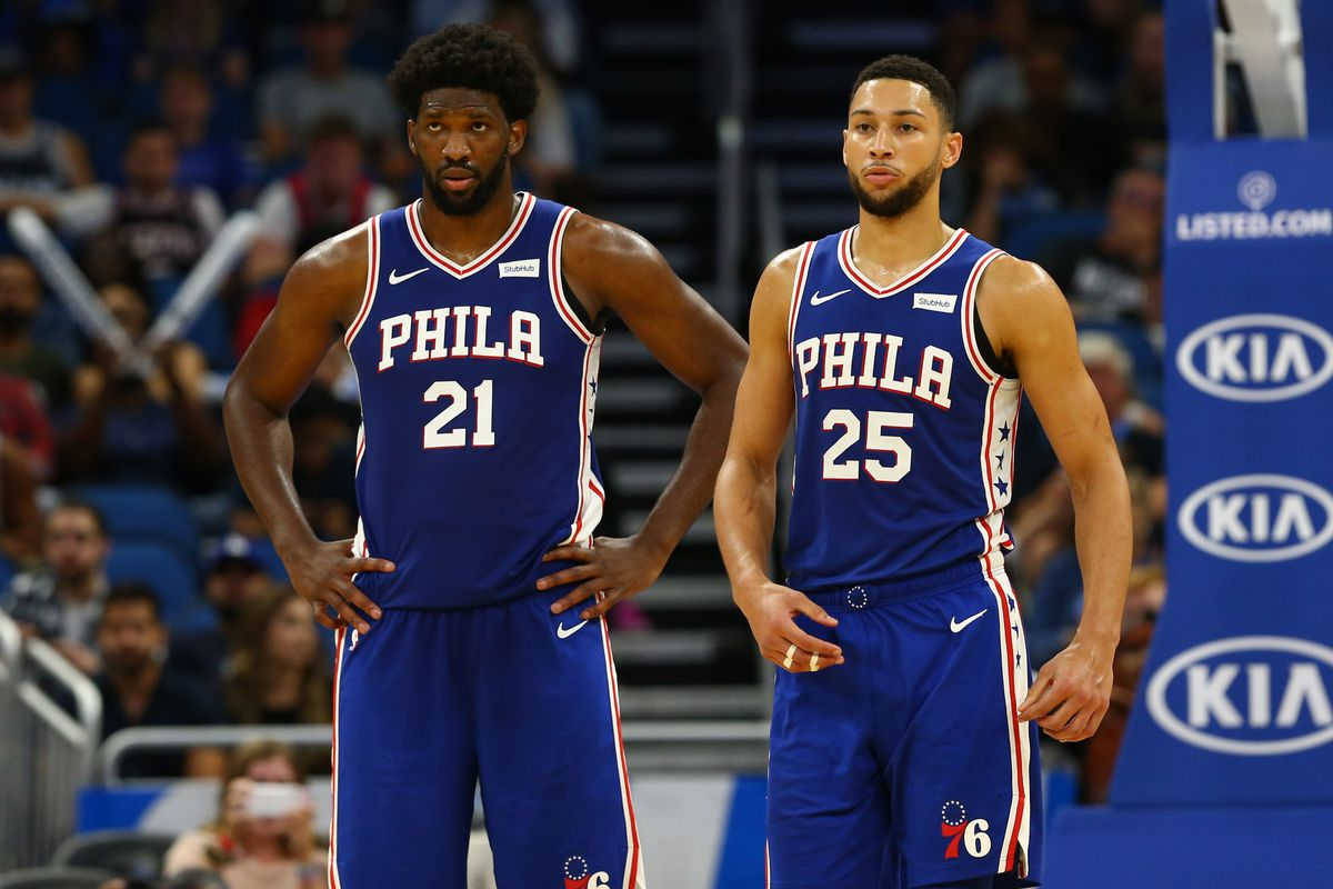 Philadelphia 76ers center Joel Embiid and guard Ben Simmons during the second quarter at Amway Center.