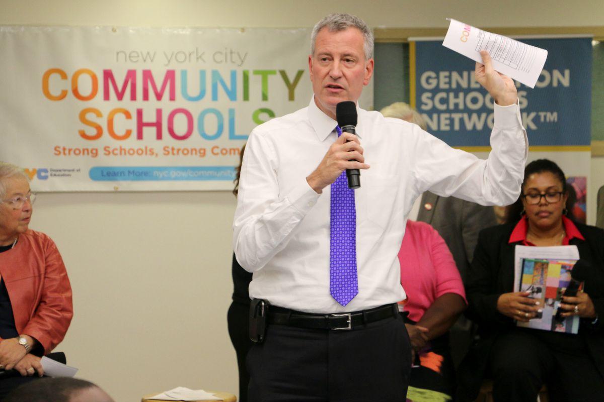 Mayor Bill de Blasio at Brooklyn Generation School — formerly part of the Renewal program