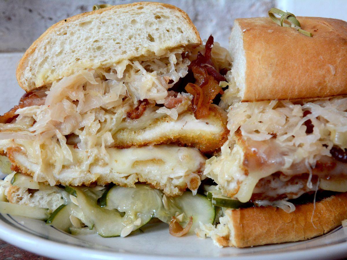 Schnitzel sandwich at Duke's Grocery.