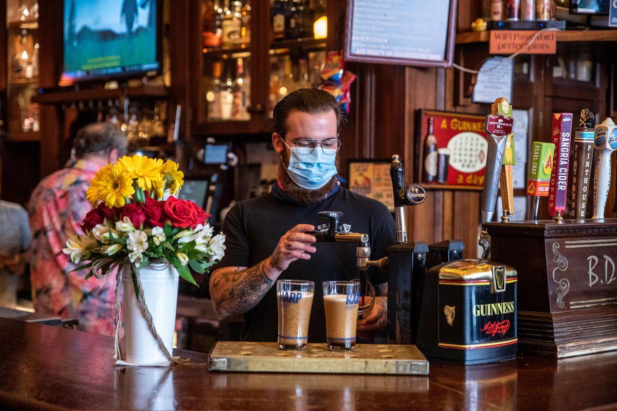 A bartender at B.D. Riley's