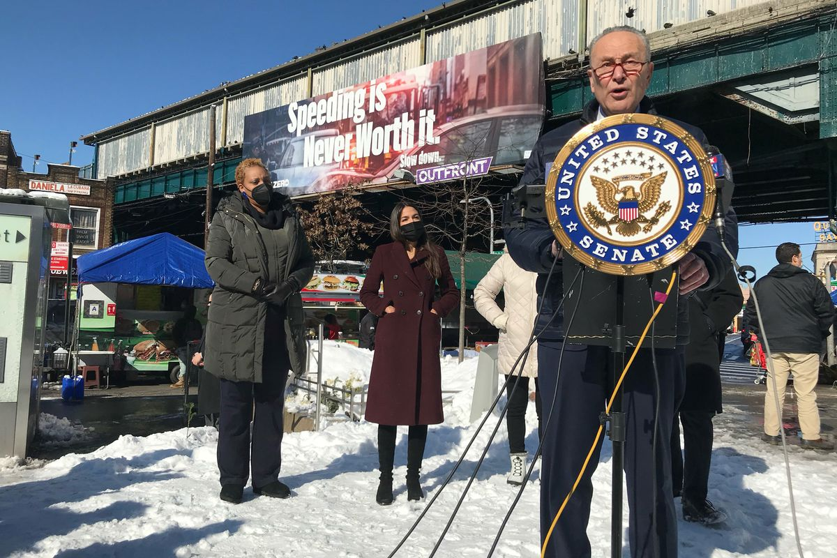 Senate Majority Leader Charles Schumer and Congressmember Alexandria Ocasio-Cortez announce a plan in Queens to help families with burial cots for victims of the coronavirus, Feb. 8, 2021.