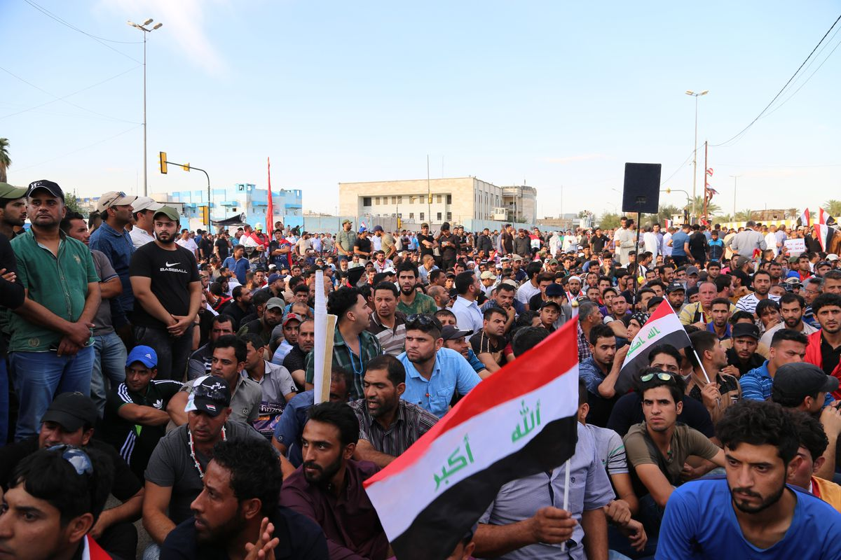 Supporters of Iraqi Shia leader Muqtada al-Sadr stage a protest calling for a technocratic government at the entrances to the Green Zone, a central area that houses a number of critical government buildings, in Baghdad, Iraq, on April 18, 2016.
