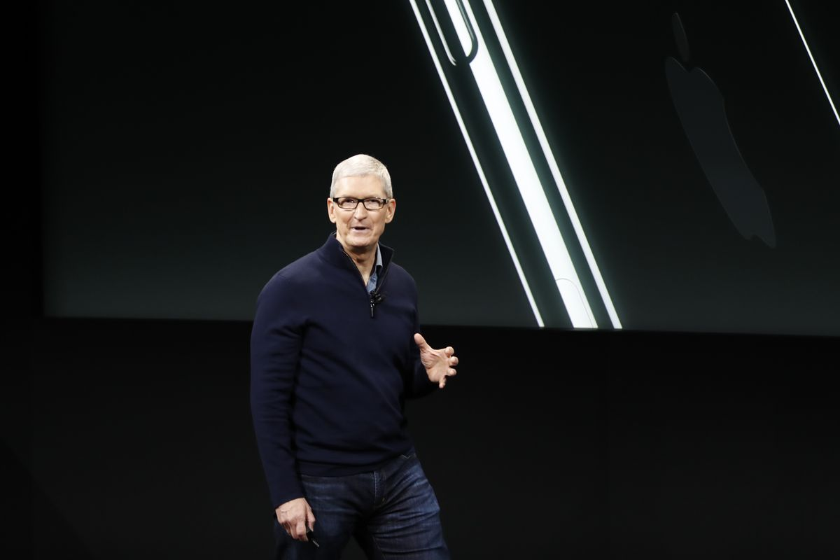 Apple CEO Tim Cook speaks during a product launch event on October 27, 2016 in Cupertino, California.