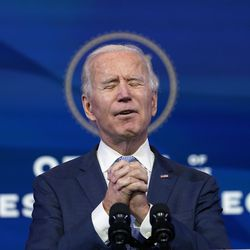 """President-elect Joe Biden speaks at The Queen theater in Wilmington, Del., Wednesday, Jan. 6, 2021. Biden has called the violent protests on the U.S. Capitol """"an assault on the most sacred of American undertakings: the doing of the people's business."""""""