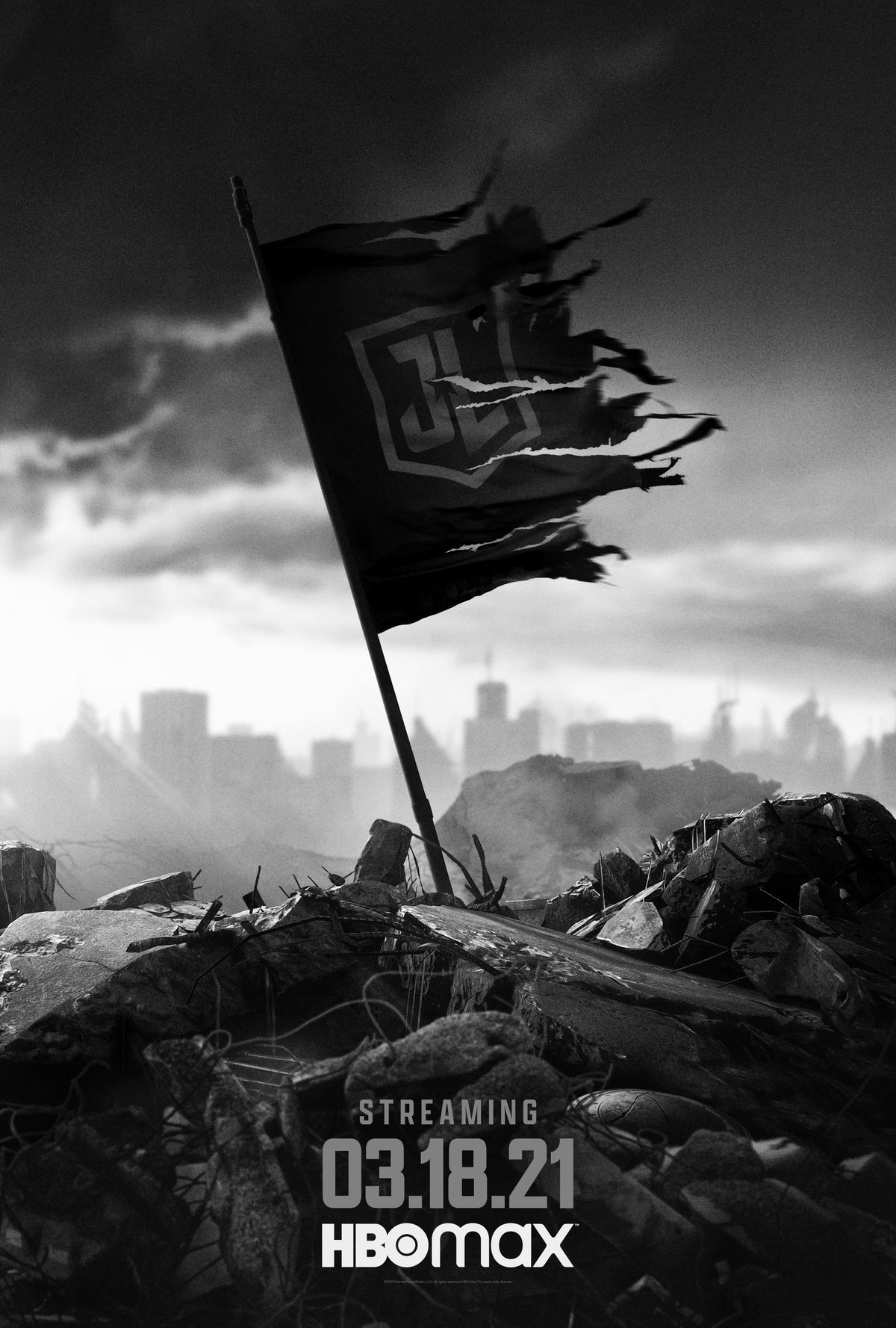 Snyder Cut tattered Justice League flag poster