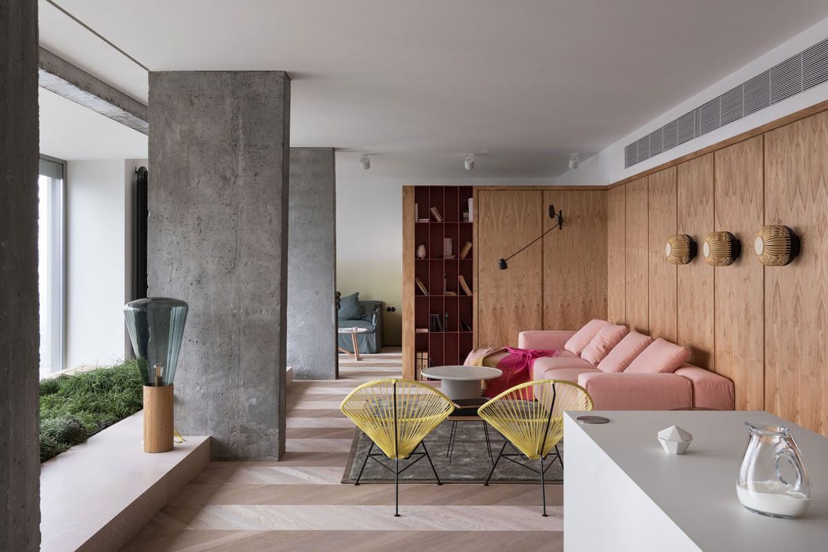 Modern Apartment Renovation Uses Concrete And Pink To