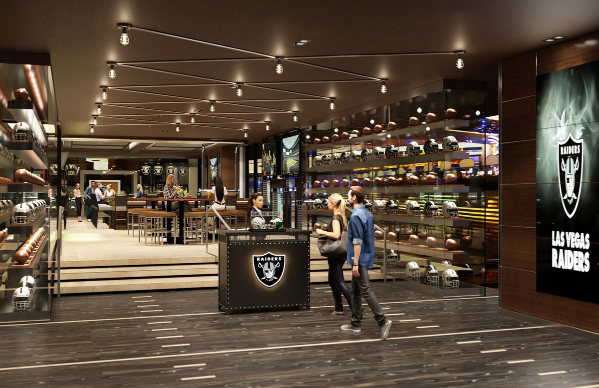 A rendering of entrance to a Raiders themed bar