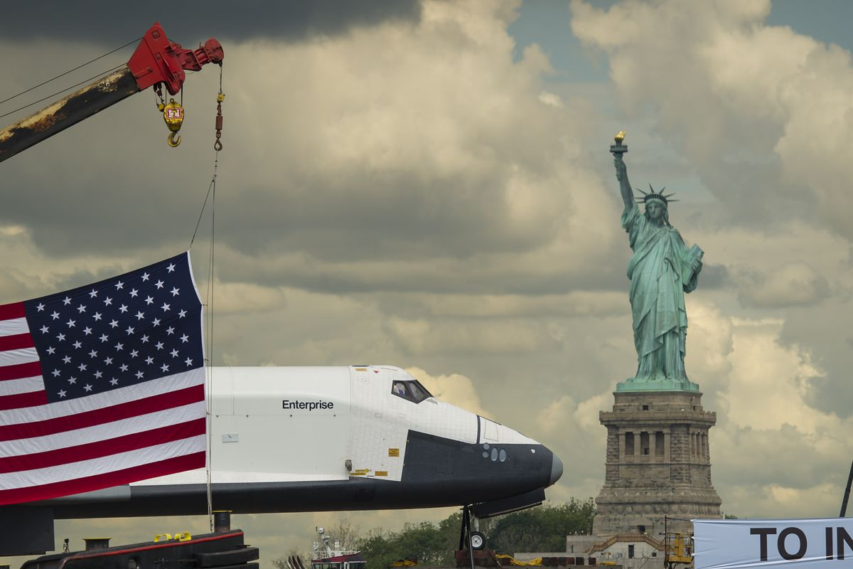Space Shuttle Enterprise Is Delivered To Intrepid Air Sea And Space Museum