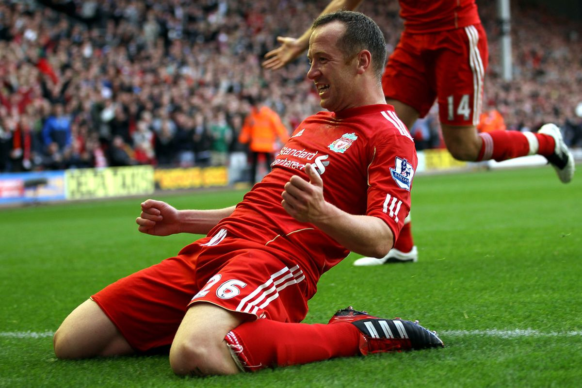 Charlie Adam of Liverpool celebrates scoring his side's third goal during the match between Liverpool and Bolton Wanderers. Liverpool face Tottenham Hotspur on Sunday.