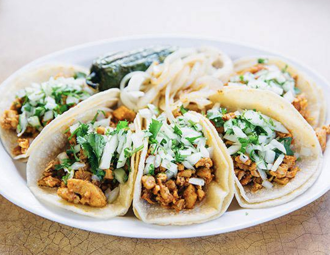 A closeup of several tacos on a white plate topped with chopped onions and cilantro