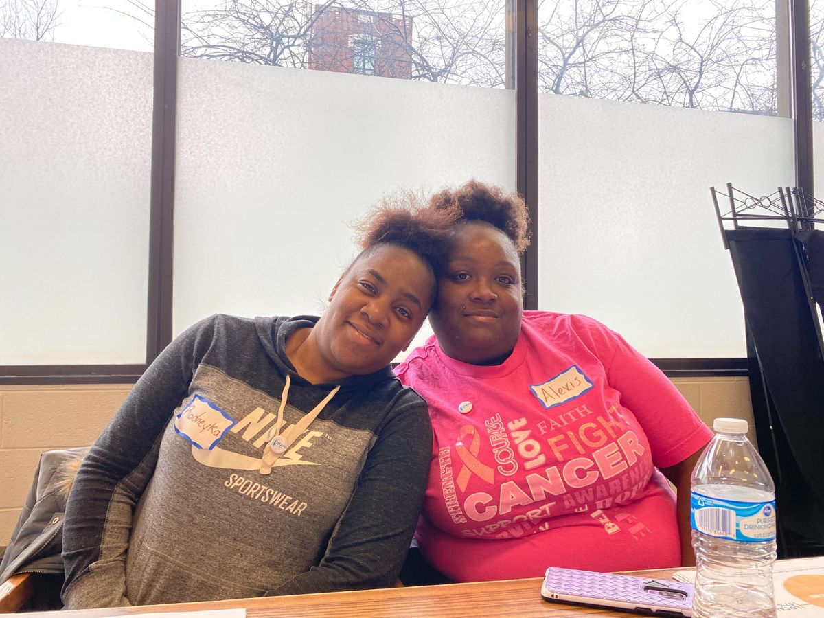 Chicago Public School moms Alexis Mimms and Rodneyka Armstrong attended a public forum on school-based budgeting.