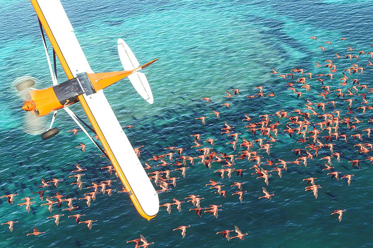 a yellow and white airplane flying over a large ocean scene in Microsoft Flight Simulator