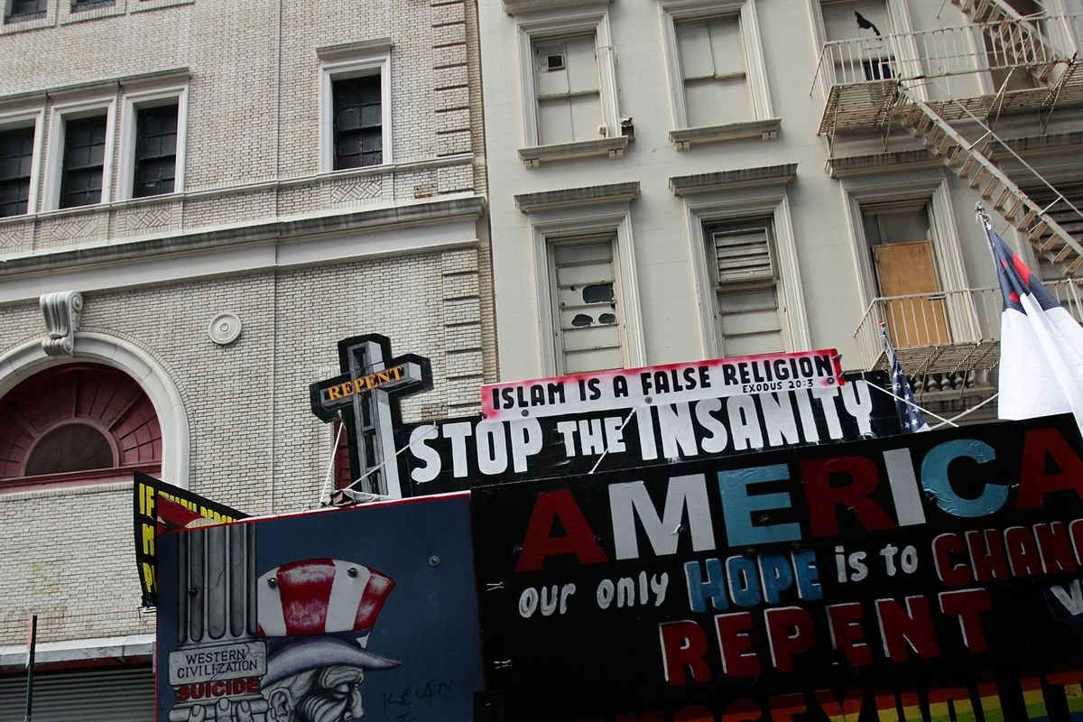 A truck with anti-Muslim messages near Ground Zero in New York in 2010. Islamophobia began to surge five years ago, and many argue it's now worse than ever.