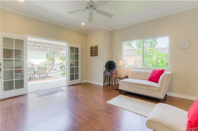 Family room with French doors