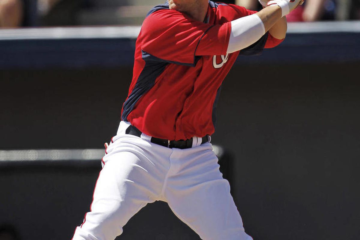 FILE - In this March 18, 2012, file photo, Washington Nationals' Bryce Harper bats against the Detroit Tigers during a spring training baseball game in Viera, Fla. Harper will be recalled by the Nationals from Triple-A Syracuse to play the Los Angeles Dod