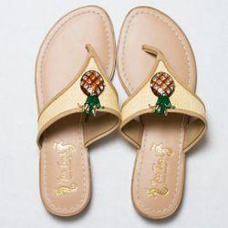 """<a href=""""http://www.target.com/Women%e2%80%99s-Trish-Target-Pineapple-Sandals/dp/B004BGGMQK/ref=sc_pd_gwvub_2_title"""" rel=""""nofollow"""">Women's Miss Trish for Target® Pineapple Flat Sandals - Natural</a>, $25"""