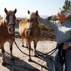 Elder Marlin K. Jensen with his horses, Peaches and Cream, in Huntsville, Thursday, Sept. 27, 2012.