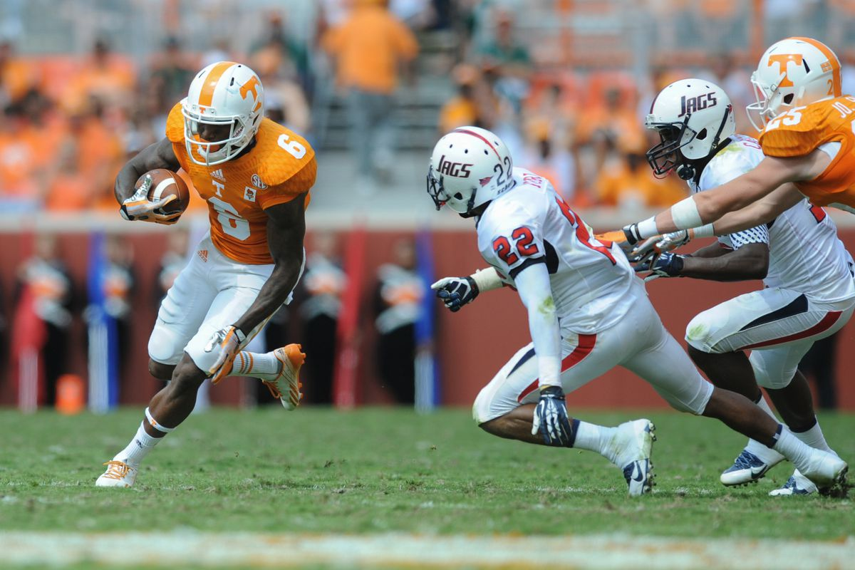 South Alabama cornerback Qudarius Ford (22) looks to stop Tennessee wide receiver Vincent Dallas (6) during the second quarter of their game in Neyland Stadium in 2013.