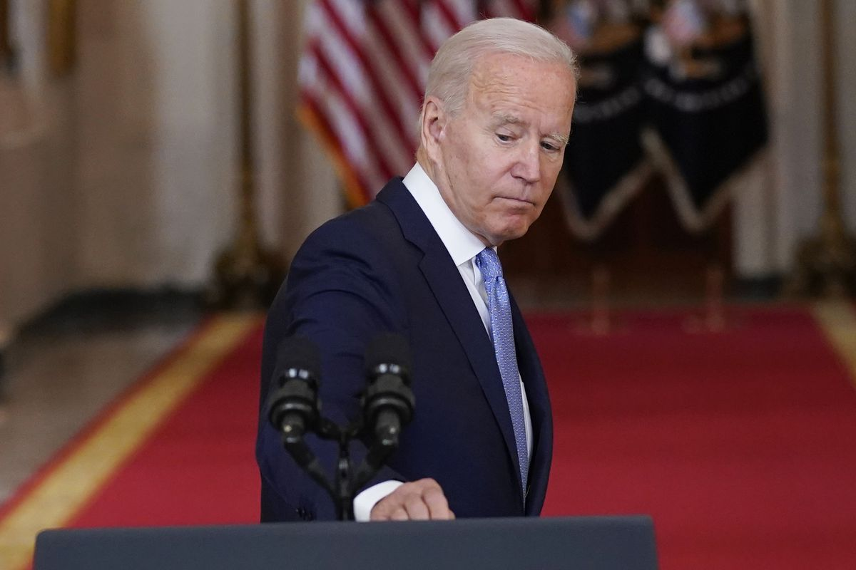 President Joe Biden turns to leave the podium after speaking about the end of the war in Afghanistan from the State Dining Room of the White House, Tuesday, Aug. 31, 2021, in Washington.