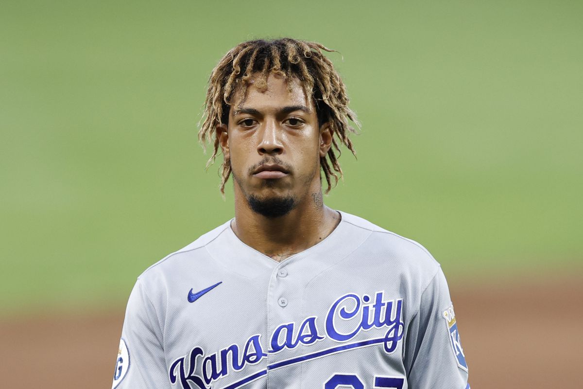 Adalberto Mondesi #27 of the Kansas City Royals looks on during a game against the Cincinnati Reds at Great American Ball Park on August 11, 2020 in Cincinnati, Ohio. The Reds won 6-5 in ten innings.