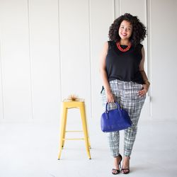 """Tank top in black, $19.99; ankle pant in black/white """"Scratchy Plaid,"""" $29.99"""