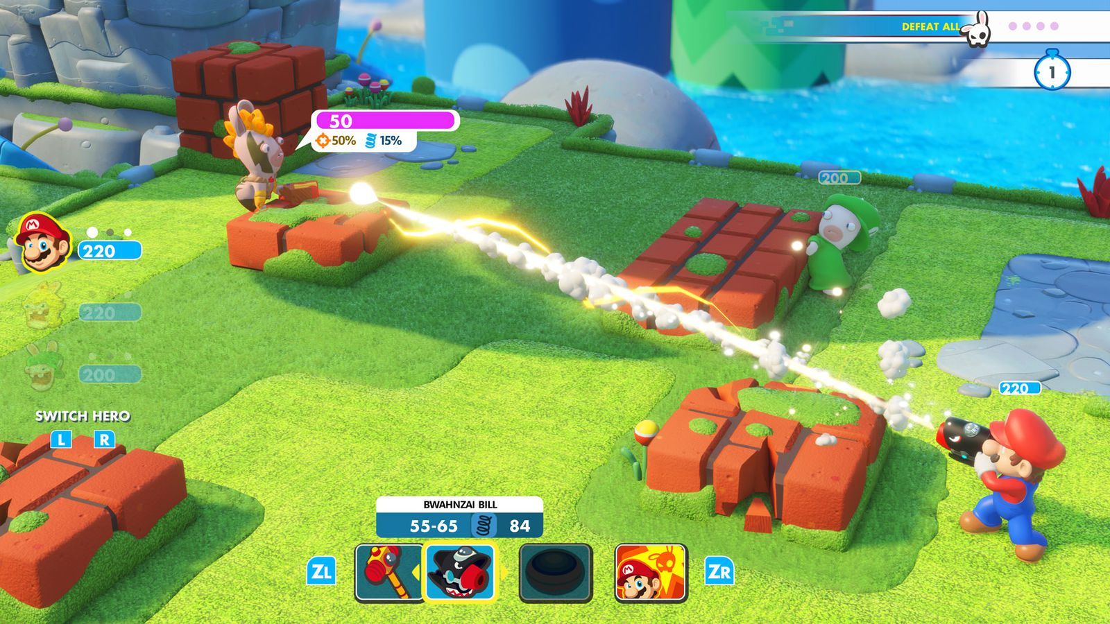 In this screenshot from Mario + Rabbids Kingdom Battle, Mario is aiming an arm cannon gun and shooting at a nearby rabbid with face paint. Both Mario and the Rabbid are standing next to waist-high blocks that they're using as cover. An objective in the up