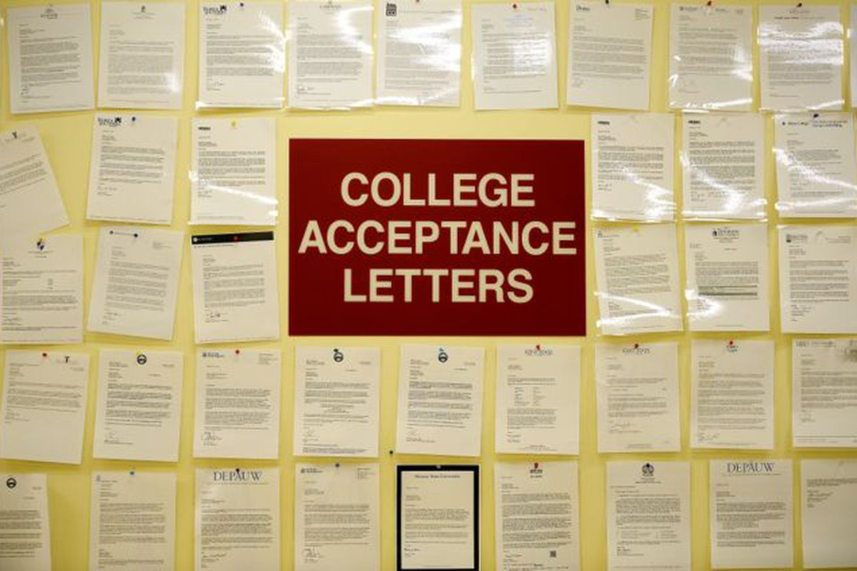 College acceptance letters in the main entrance at Tindley Accelerated School.