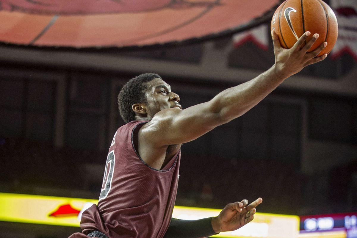 Duane Notice heads to the rim against Arkansas.